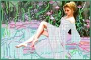 Рисунок на ткани для вышивки бисером Девушка у бассейна