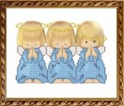 Рисунок на габардине для вышивки бисером Три ангелочка