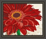 Рисунок на габардине для вышивки бисером Герберы