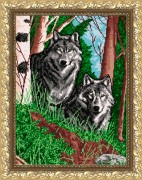 Рисунок на габардине для вышивки бисером Волки в лесу