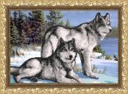 Рисунок на габардине для вышивки бисером Волки