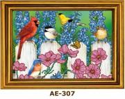 Рисунок на ткани для вышивки бисером Птички на заборе