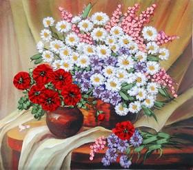 Набор для вышивки лентами Полевые цветы, , 172.00грн., НЛ-3005, Марiчка (Маричка), Вышивка лентами