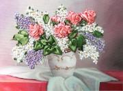 Набор для вышивки лентами Розы и сирень