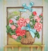Набор для вышивки лентами Розы в корзине