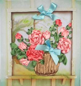Набор для вышивки лентами Розы в корзине Марiчка (Маричка) НЛ-4002 - 101.00грн.