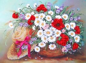 Набор для вышивки лентами Шляпка в цветах Марiчка (Маричка) НЛ-3004 - 153.00грн.