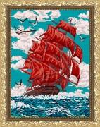 Рисунок на габардине для вышивки бисером  Алые паруса
