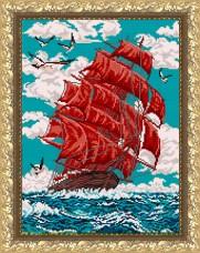 Рисунок на габардине для вышивки бисером  Алые паруса Art Solo VKA-3048