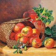 Рисунок на ткани для вышивки бисером Корзина с яблоками