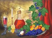 Рисунок на атласе для вышивки бисером Натюрморт с вином