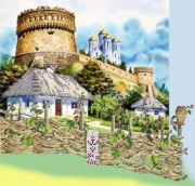 Рисунок на габардине для вышивки бисером Крепость Украины