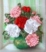 Набор для вышивки лентами Пионы в вазе