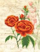 Рисунок на ткани для вышивки бисером Винтаж. Красные розы