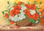 Рисунок на ткани для вышивки бисером Маки в корзине