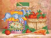 Рисунок на ткани для вышивки бисером клубничное варенье