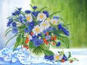 Рисунок на ткани для вышивки бисером Васильки и ромашки