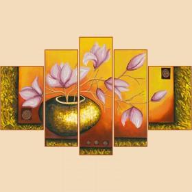 Рисунок на ткани для вышивки бисером Лепестки магнолий, Полиптих из 5 частей Марiчка (Маричка) РКП-1005 - 380.00грн.
