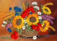 Набор для вышивки лентами Корзина летних цветов Марiчка (Маричка) НЛ-3011