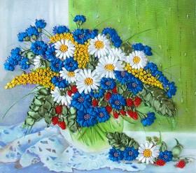 Набор для вышивки лентами Полевые цветы на окне Марiчка (Маричка) НЛ-3014 - 198.00грн.