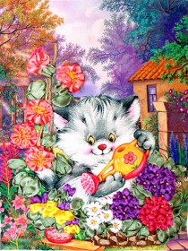 Набор для вышивки лентами Котенок - садовод Марiчка (Маричка) НЛ-4011 - 101.00грн.