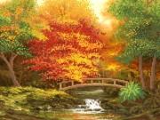 Рисунок на ткани для вышивки бисером Осенний мостик