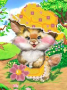 Рисунок на ткани для вышивки бисером Кошечка в чепчике