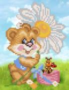Рисунок на ткани для вышивки бисером Мишка с ромашкой