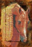 Рисунок на габардине для вышивки бисером Рыжий конь