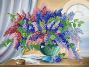 Рисунок на атласе для вышивки бисером Сирень у окна