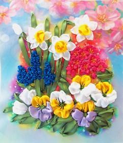 Набор для вышивки лентами Первоцветы, , 141.00грн., НЛ-4015, Марiчка (Маричка), Вышивка лентами