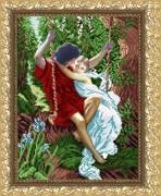 Рисунок на габардине для вышивки бисером Влюбленные на качелях