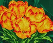 Рисунок на атласе для вышивки бисером Тюльпаны