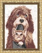 Рисунок на габардине для вышивки бисером Собака с котенком