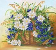 Рисунок на атласе для вышивки бисером Полевые ромашки