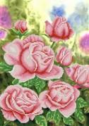 Рисунок на атласе для вышивки бисером Садовые розы