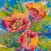 Рисунок на ткани для вышивки бисером Акварельные маки