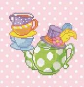 Рисунок на габардине для вышивки бисером Пан чайник