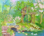 Рисунок на габардине для вышивки бисером Дом возле озера