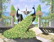Рисунок на габардине для вышивки бисером Роскошные павлины