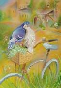 Рисунок на габардине для вышивки бисером Любовь и велосипед