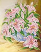 Рисунок на ткани для вышивки бисером Розовые лилии