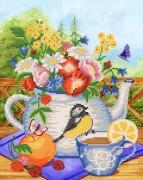 Рисунок на ткани для вышивки бисером Летний чай