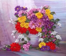 Набор для вышивки лентами Осенние цветы, , 222.00грн., НЛ-3021, Марiчка (Маричка), Вышивка лентами