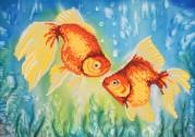 Рисунок на ткани для вышивки бисером Золотые рыбки