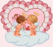 Схема для вышивки бисером на габардине  Влюблённые ангелочки