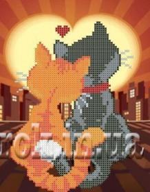 Схема для вышивки бисером на габардине  Влюблённые коты Княгиня Ольга СД-149 - 24.00грн.