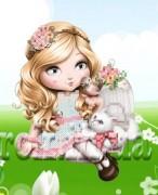 Рисунок на ткани для вышивки бисером Девочка и котёнок