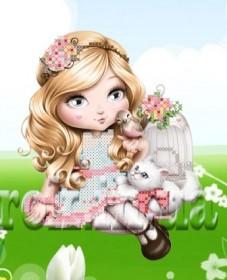 Рисунок на ткани для вышивки бисером Девочка и котёнок Княгиня Ольга СД-142 - 24.00грн.