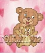 Рисунок на ткани для вышивки бисером Добрые медвежата